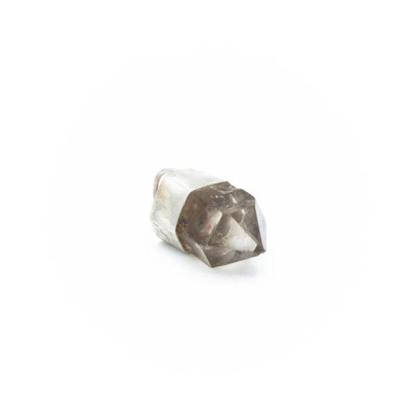 smoky quartz crystal pendant talisman necklace jewelry silver handmade