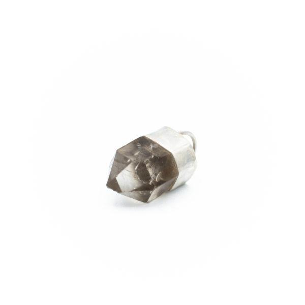 smoky quartz crystal pendant necklace talisman jewelry handmade silver